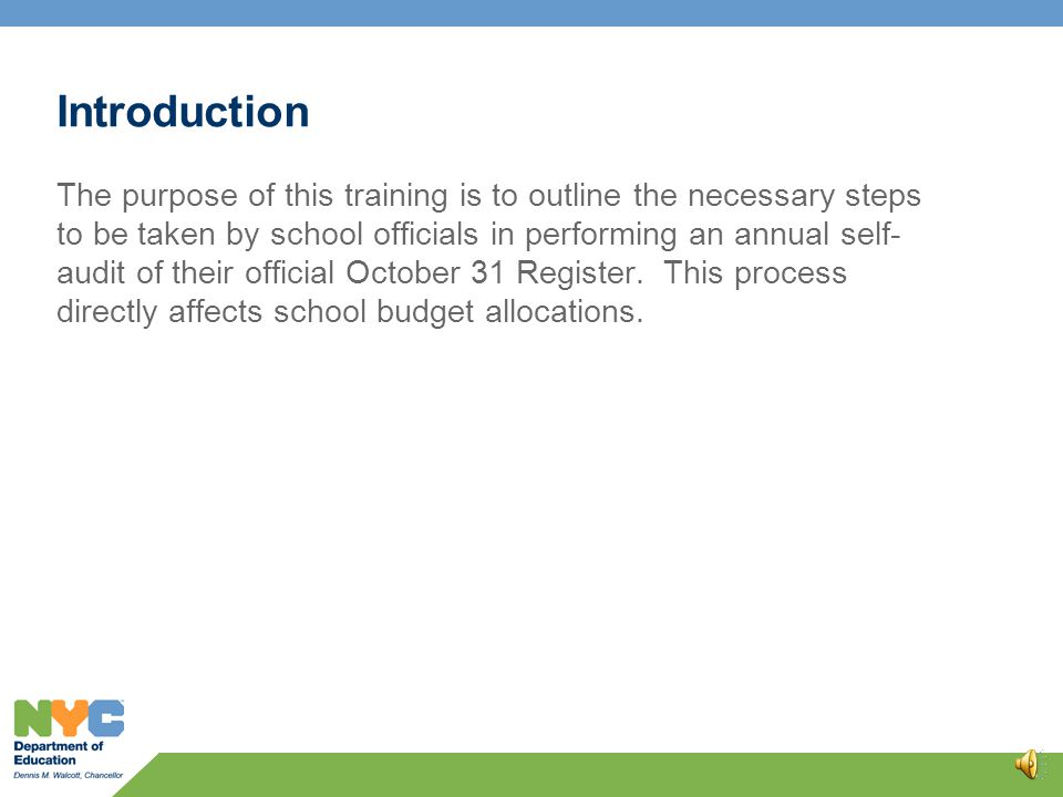 Annual Register Verification Training 0 Presented by the Office of Auditor General