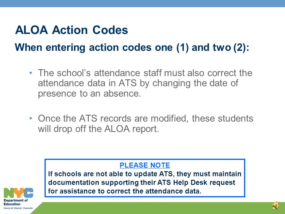 ALOA Action Codes Documentation must be maintained for all three action codes entered into ATS. 26 ALOA Action Code Description Include on the Officia