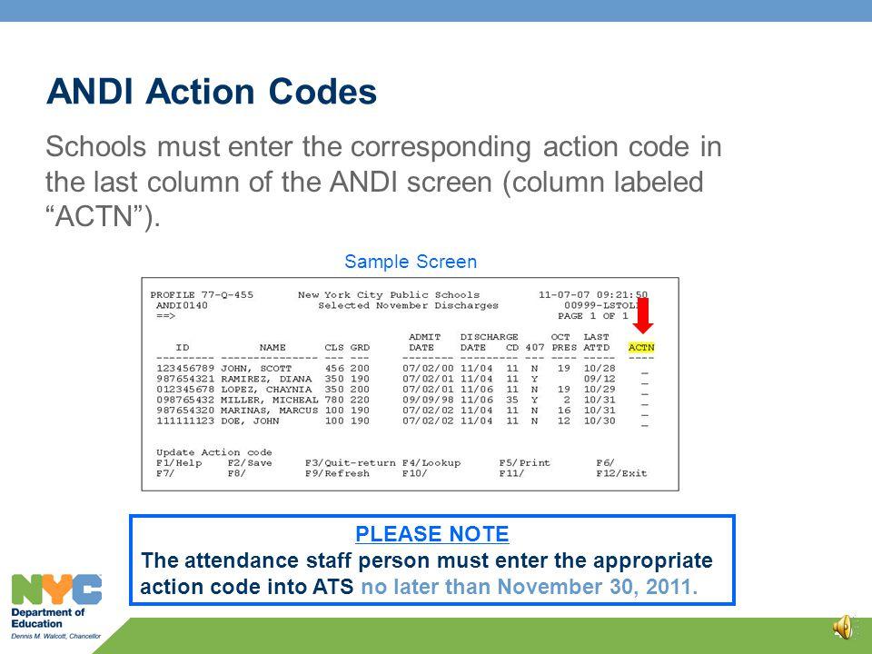 ANDI Action Codes 39