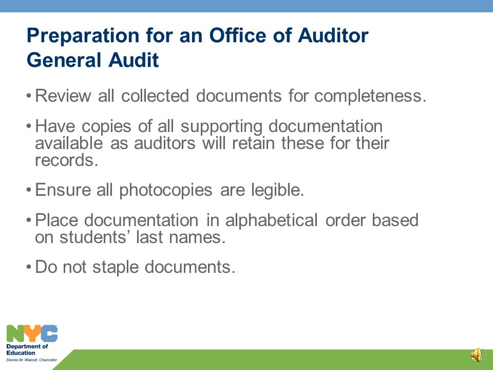 Please Note 42 For both the ALOA and ANDI self-audits, all documentation should be maintained in the event your school is selected for audit.