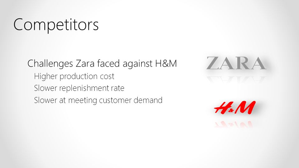 Competitors Challenges Zara faced against H&M Higher production cost Slower replenishment rate Slower at meeting customer demand