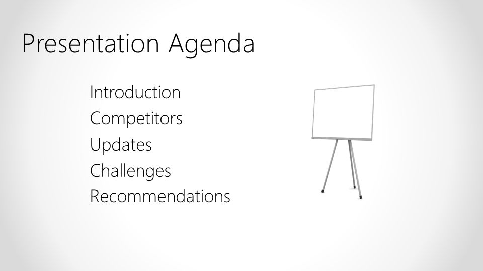 Introduction Competitors Updates Challenges Recommendations Presentation Agenda