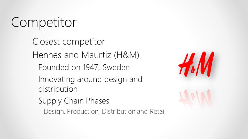 Closest competitor Hennes and Maurtiz (H&M) Founded on 1947, Sweden Innovating around design and distribution Supply Chain Phases Design, Production,