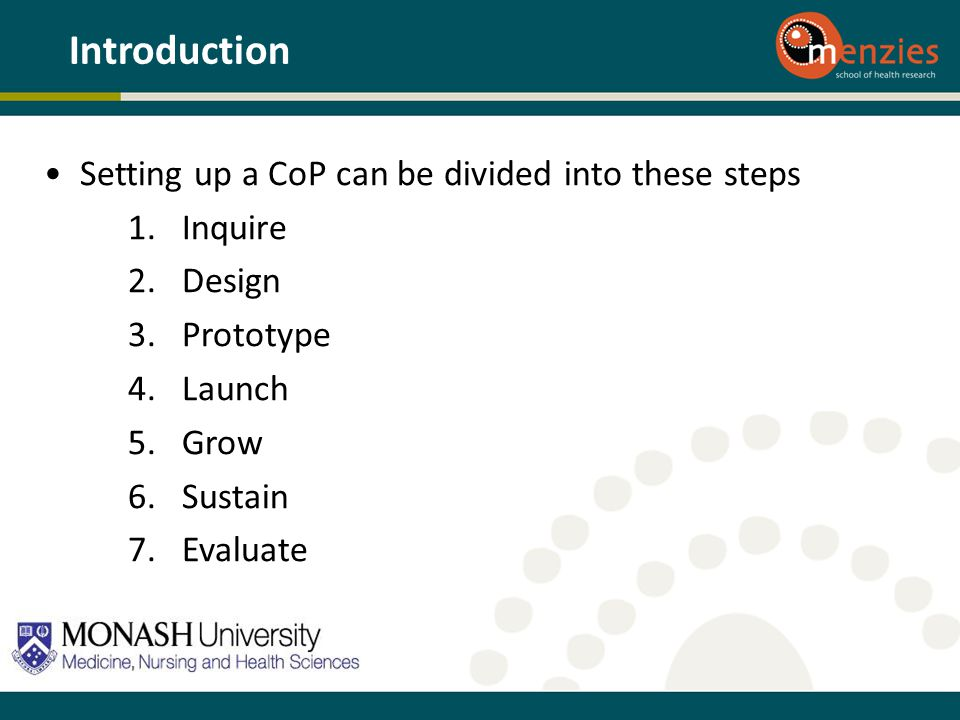 Setting up a CoP can be divided into these steps 1.Inquire 2.Design 3.Prototype 4.Launch 5.Grow 6.Sustain 7.Evaluate Introduction