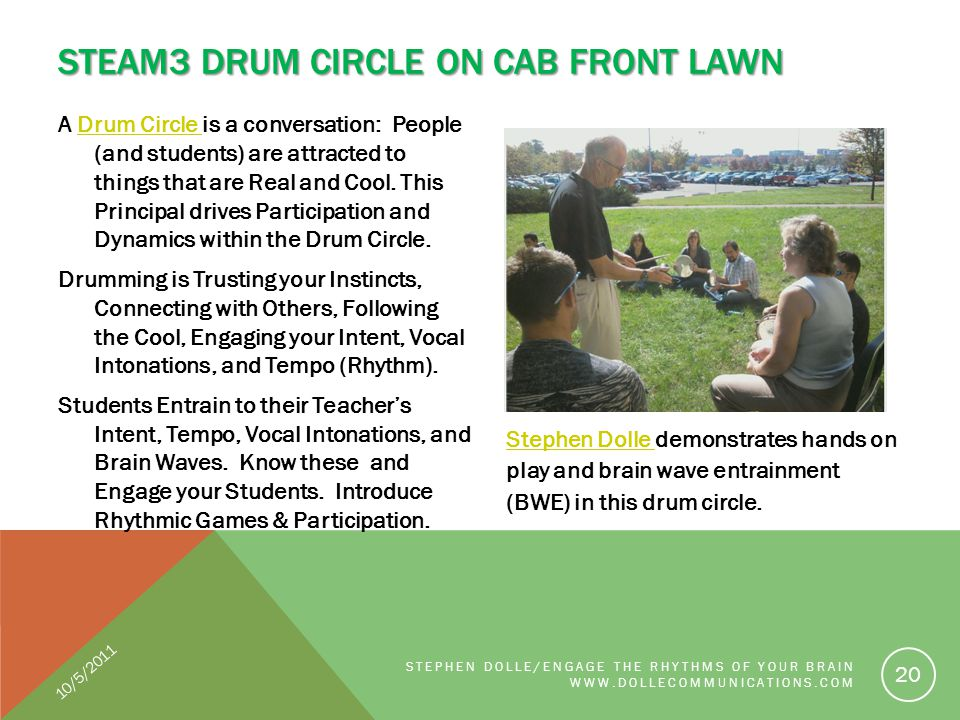A Drum Circle is a conversation: People (and students) are attracted to things that are Real and Cool. This Principal drives Participation and Dynamic