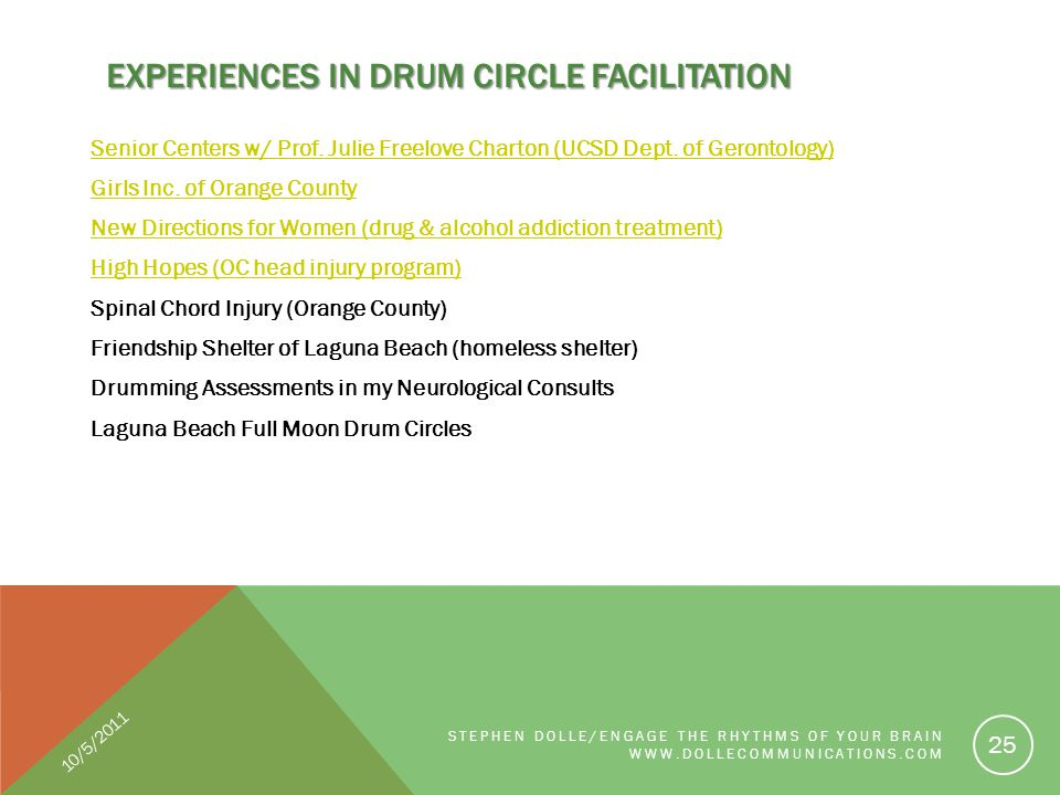 EXPERIENCES IN DRUM CIRCLE FACILITATION Senior Centers w/ Prof. Julie Freelove Charton (UCSD Dept. of Gerontology) Girls Inc. of Orange County New Dir