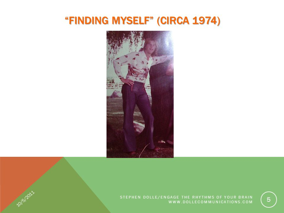 FINDING MYSELF (CIRCA 1974) STEPHEN DOLLE/ENGAGE THE RHYTHMS OF YOUR BRAIN WWW.DOLLECOMMUNICATIONS.COM 5 10/5/2011