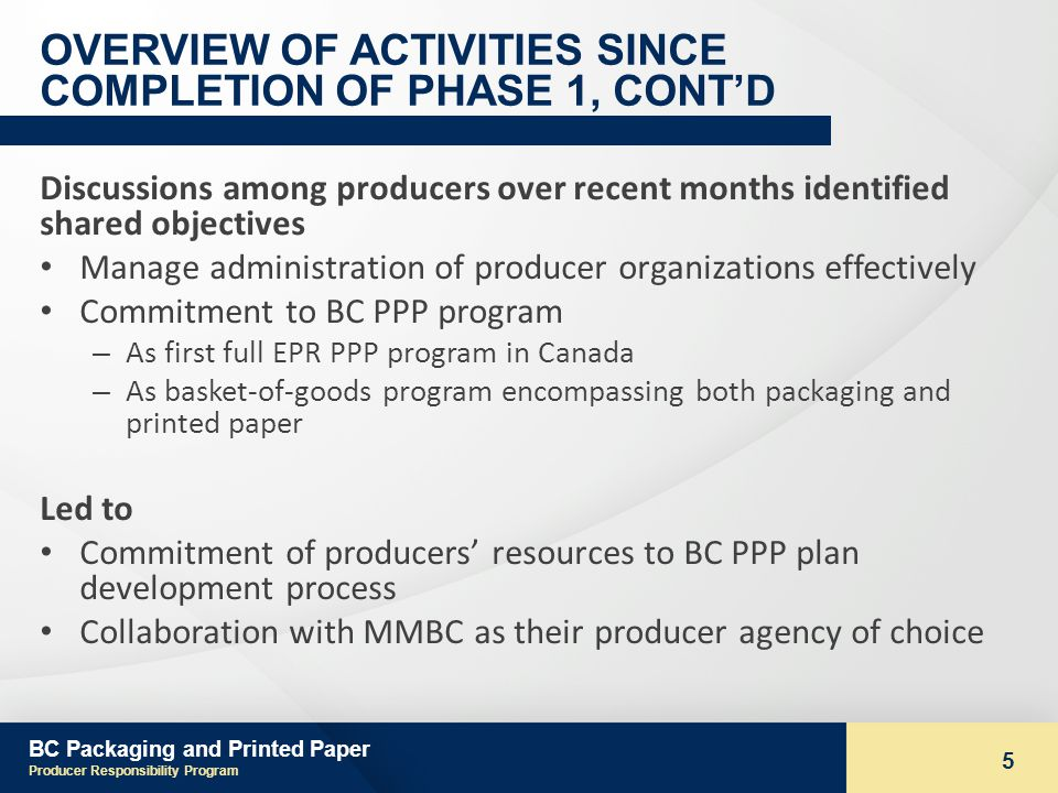 BC Packaging and Printed Paper Producer Responsibility Program 5 OVERVIEW OF ACTIVITIES SINCE COMPLETION OF PHASE 1, CONTD Discussions among producers over recent months identified shared objectives Manage administration of producer organizations effectively Commitment to BC PPP program – As first full EPR PPP program in Canada – As basket-of-goods program encompassing both packaging and printed paper Led to Commitment of producers resources to BC PPP plan development process Collaboration with MMBC as their producer agency of choice
