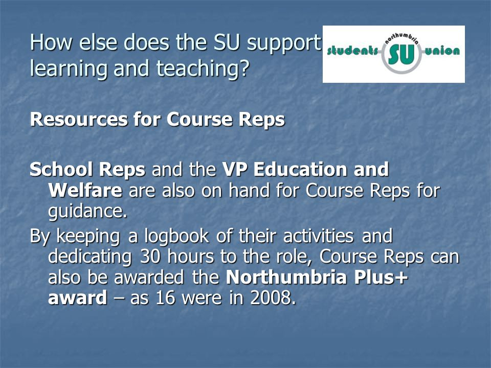 How else does the SU support learning and teaching.