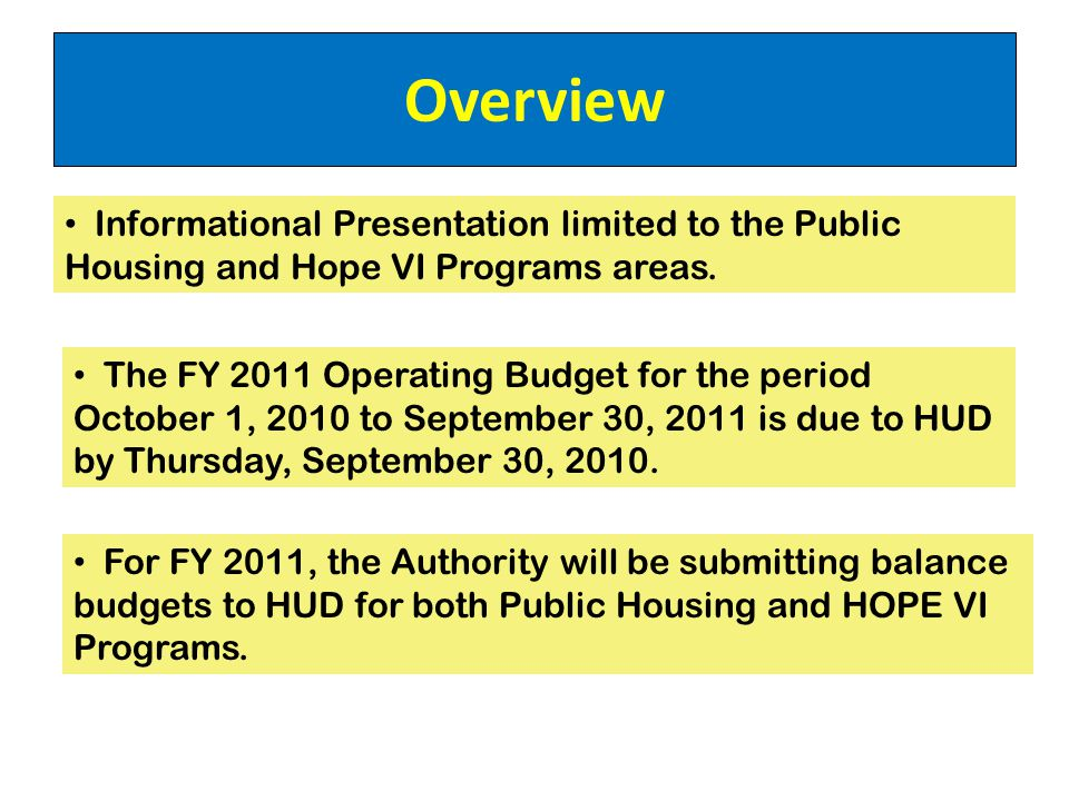 Overview The FY 2011 Operating Budget for the period October 1, 2010 to September 30, 2011 is due to HUD by Thursday, September 30, 2010.