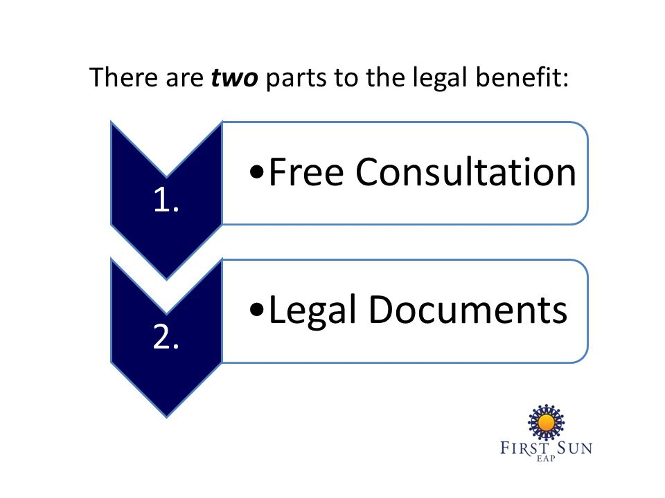 There are two parts to the legal benefit: 1. Free Consultation 2. Legal Documents