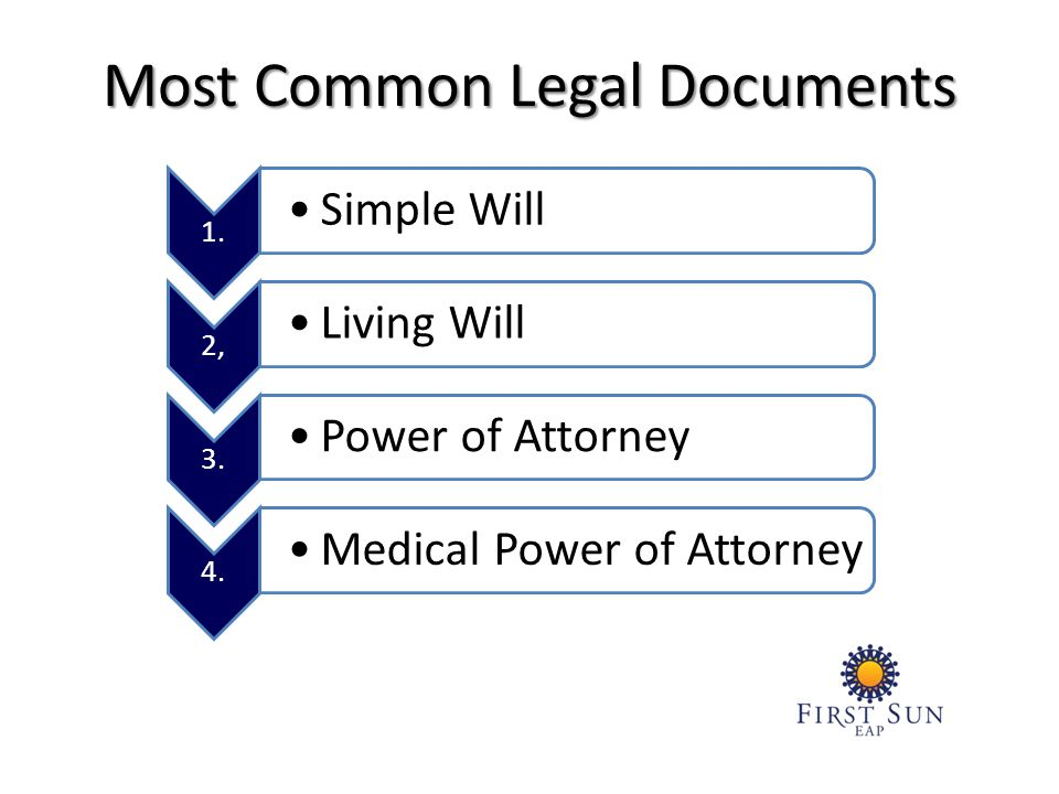 Most Common Legal Documents 1. Simple Will 2, Living Will 3.