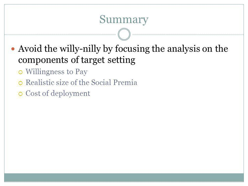 Summary Avoid the willy-nilly by focusing the analysis on the components of target setting Willingness to Pay Realistic size of the Social Premia Cost of deployment