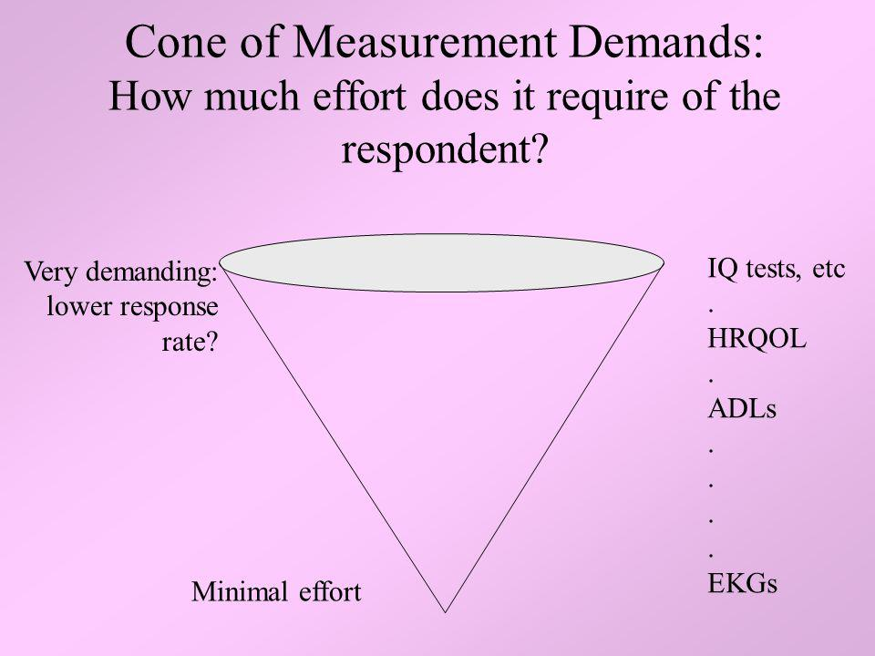 Cone of Measurement Demands: How much effort does it require of the respondent? IQ tests, etc. HRQOL. ADLs. EKGs Minimal effort Very demanding: lower