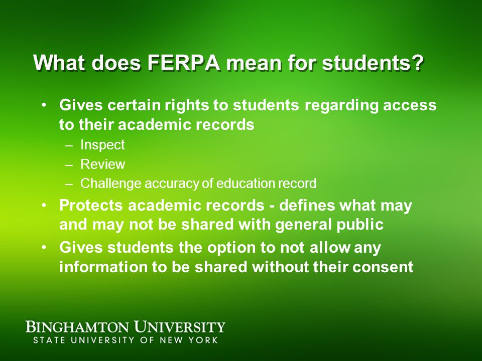 What does FERPA mean for students.