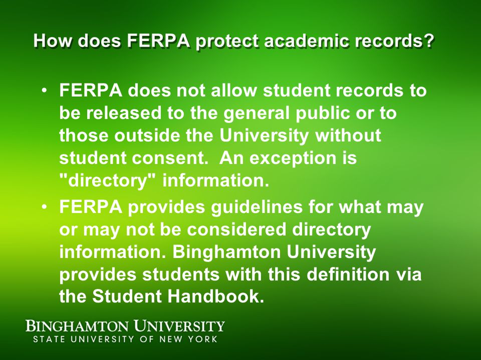 How does FERPA protect academic records.