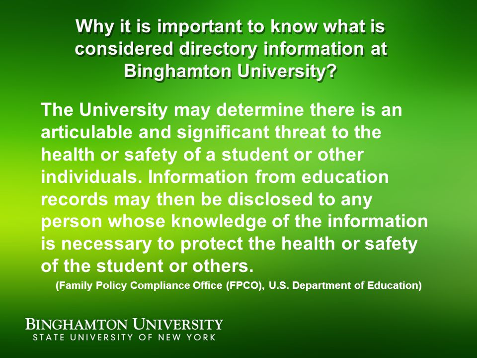Why it is important to know what is considered directory information at Binghamton University.