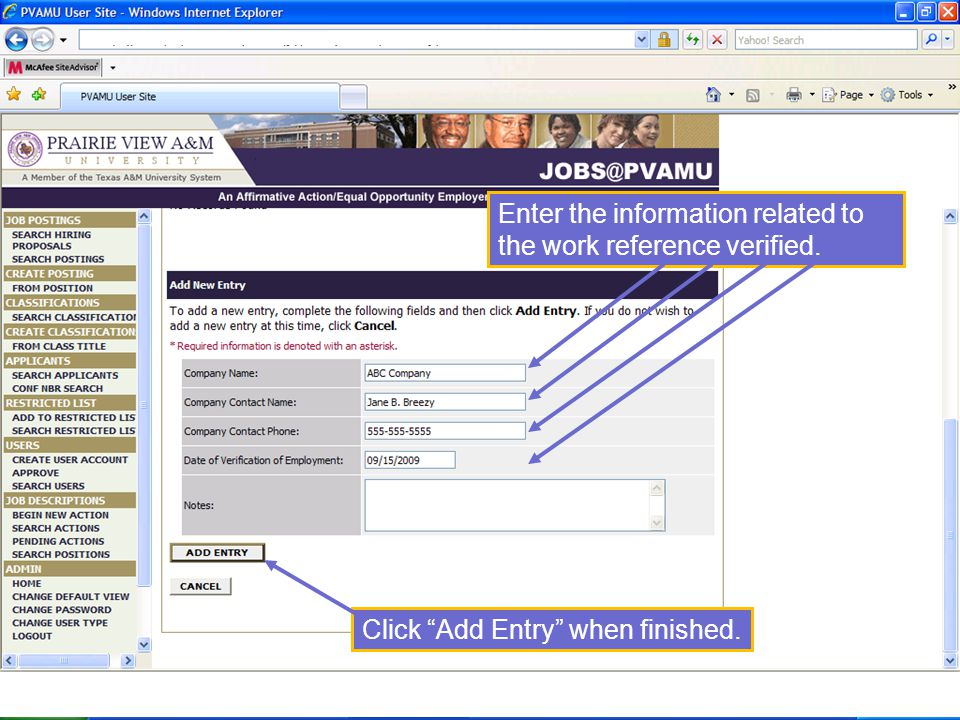 Enter the information related to the work reference verified. Click Add Entry when finished.