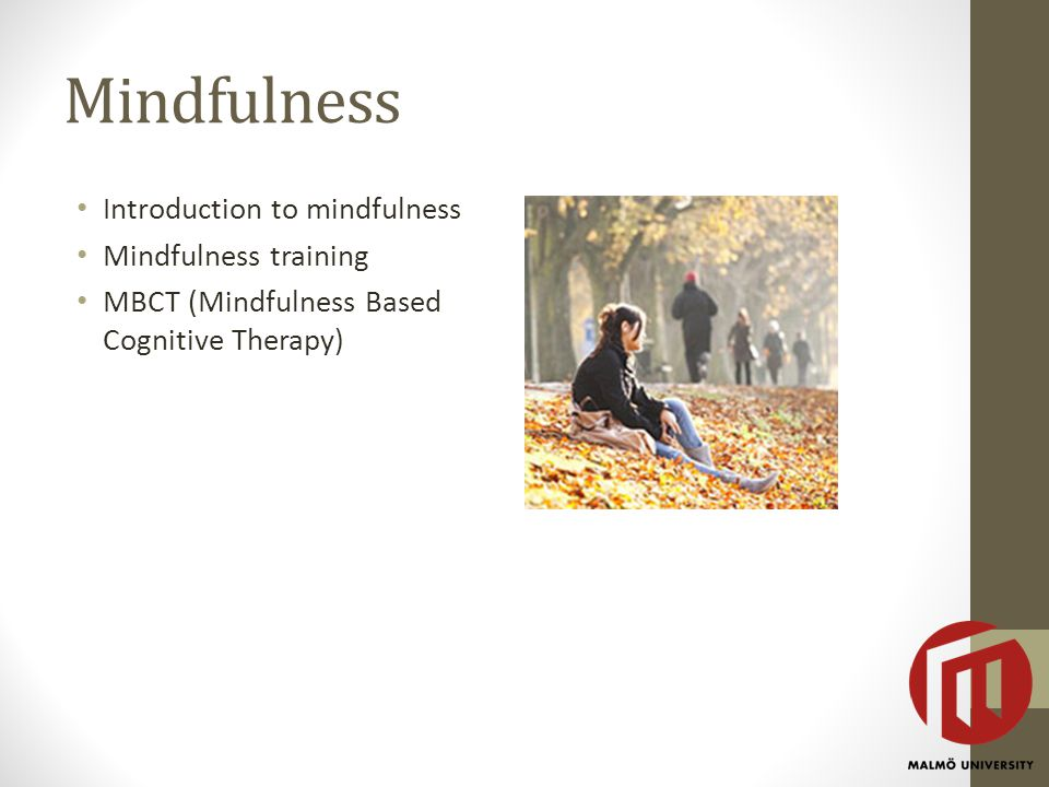 Mindfulness Introduction to mindfulness Mindfulness training MBCT (Mindfulness Based Cognitive Therapy)