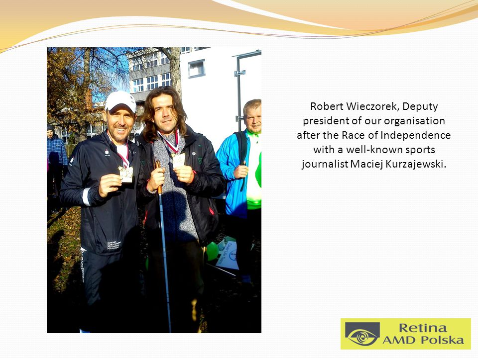 Robert Wieczorek, Deputy president of our organisation after the Race of Independence with a well-known sports journalist Maciej Kurzajewski.