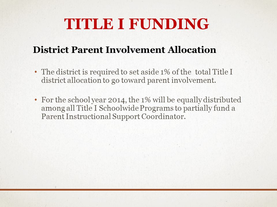 TITLE I FUNDING District Parent Involvement Allocation The district is required to set aside 1% of the total Title I district allocation to go toward parent involvement.