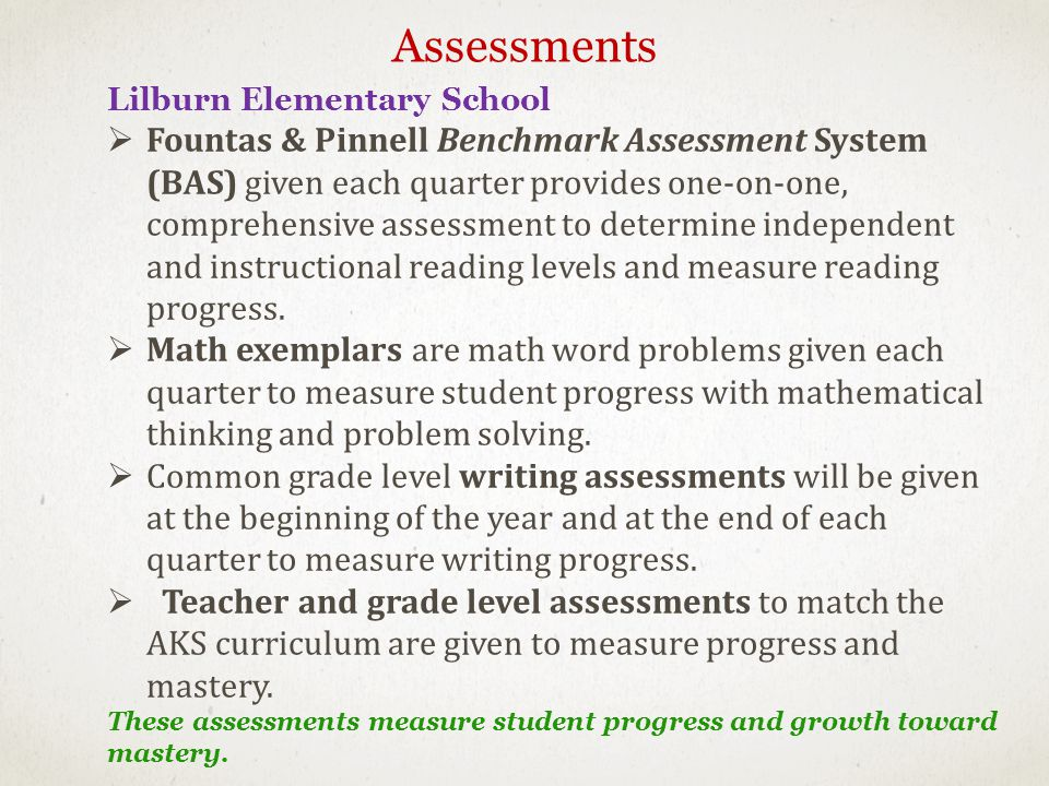 Lilburn Elementary School Fountas & Pinnell Benchmark Assessment System (BAS) given each quarter provides one-on-one, comprehensive assessment to determine independent and instructional reading levels and measure reading progress.