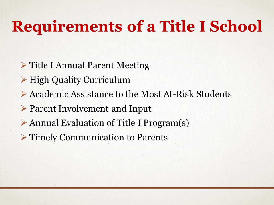 Requirements of a Title I School Title I Annual Parent Meeting High Quality Curriculum Academic Assistance to the Most At-Risk Students Parent Involvement and Input Annual Evaluation of Title I Program(s) Timely Communication to Parents