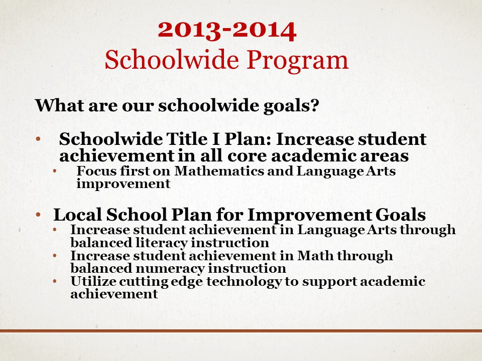 What are our schoolwide goals.