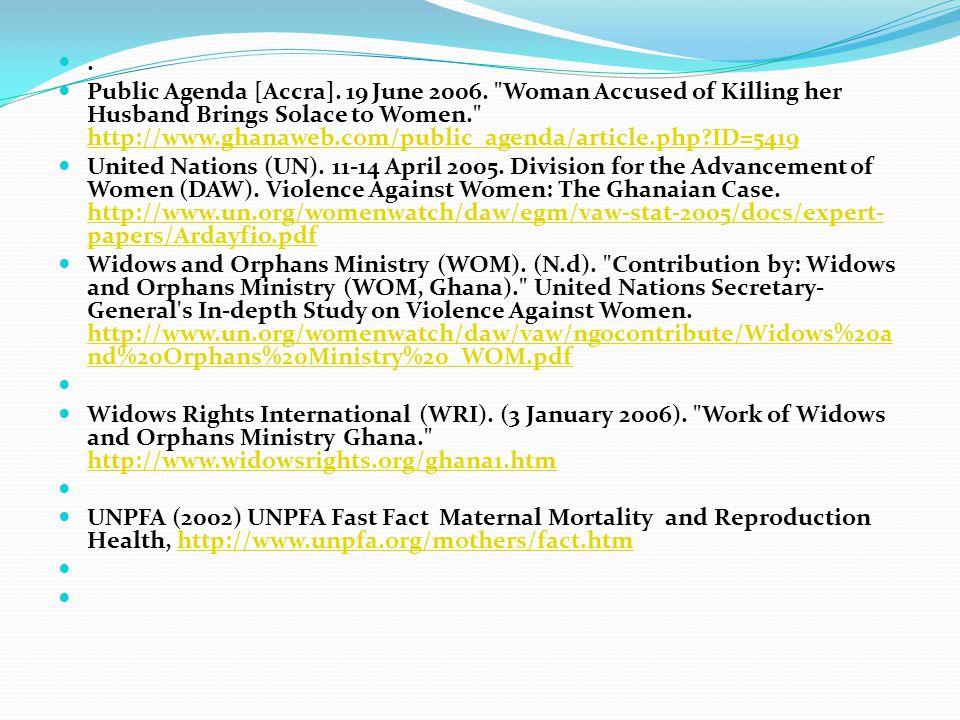 . Public Agenda [Accra]. 19 June 2006.