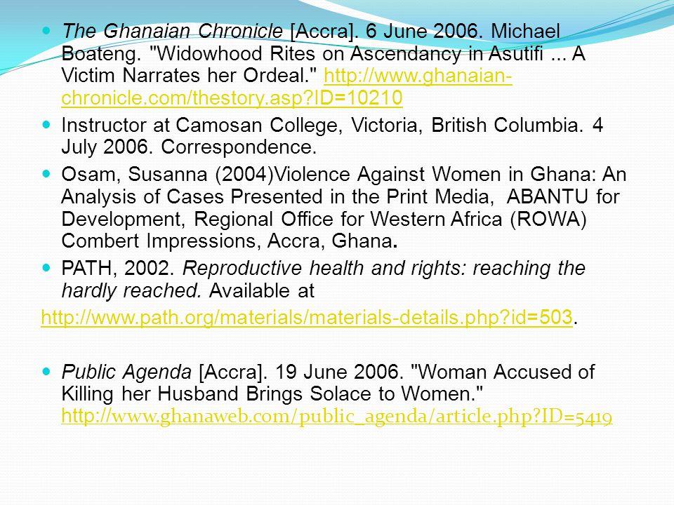 The Ghanaian Chronicle [Accra]. 6 June 2006. Michael Boateng.