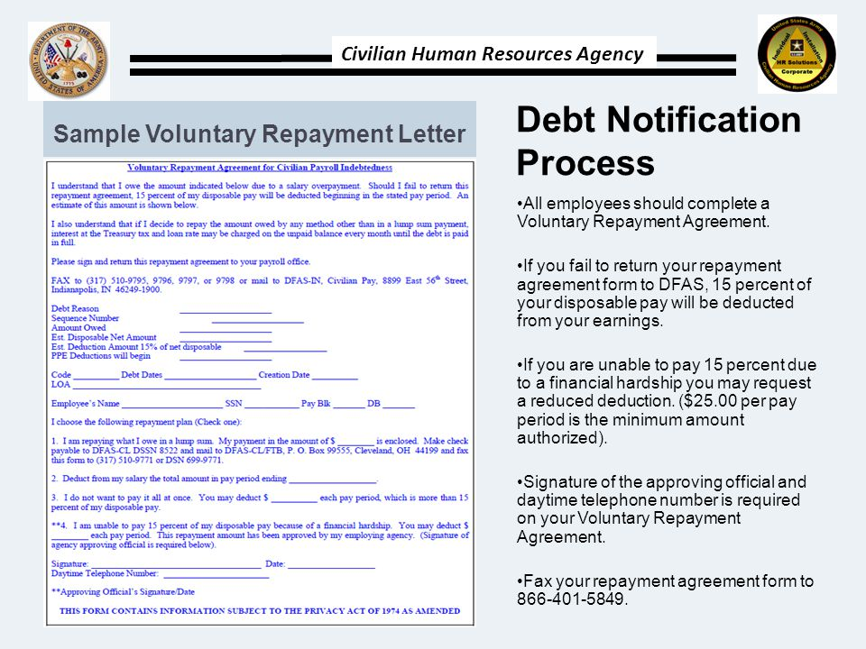 Civilian Human Resources Agency Debt Notification Process All employees should complete a Voluntary Repayment Agreement.