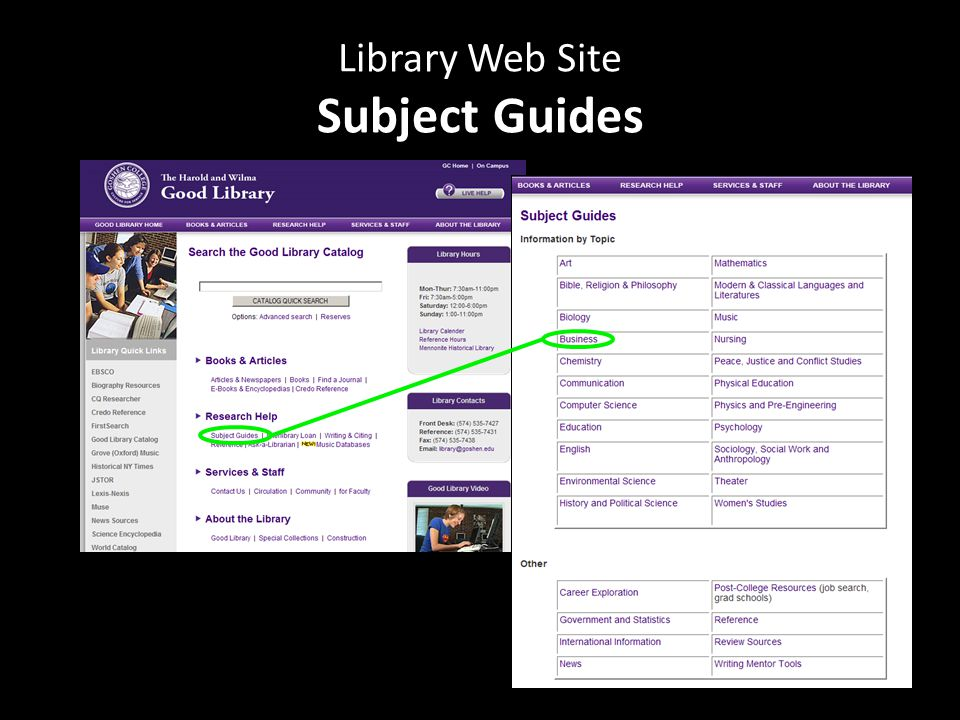 Library Web Site Subject Guides