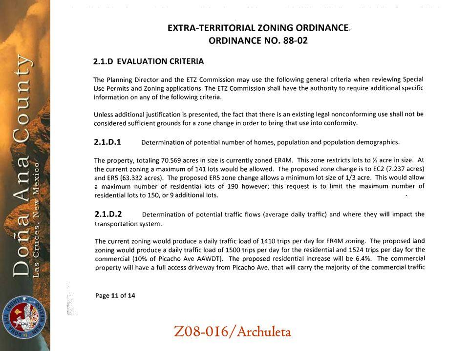 Z08-016/Archuleta 2.1.D