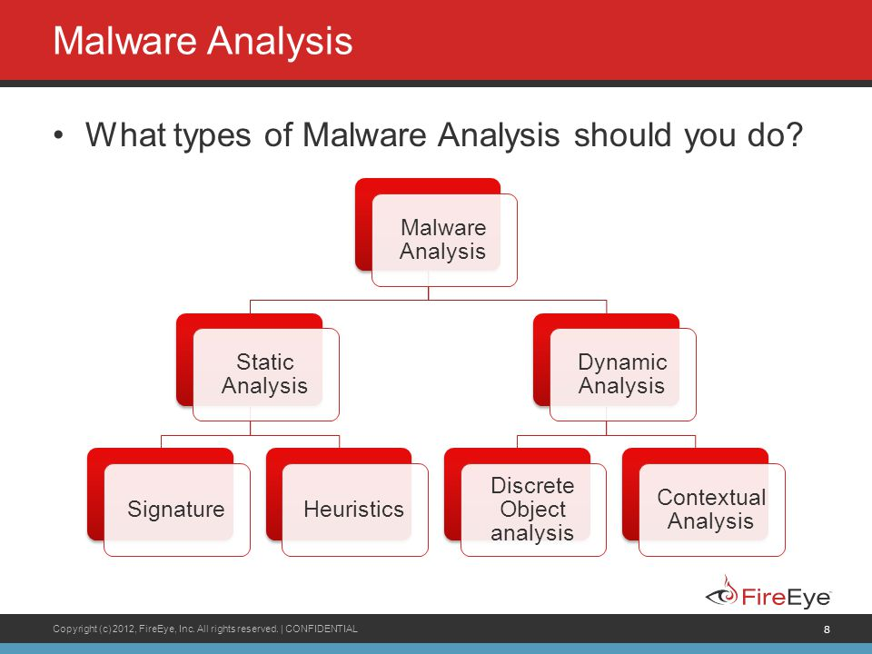 Copyright (c) 2012, FireEye, Inc. All rights reserved. | CONFIDENTIAL 8 Malware Analysis What types of Malware Analysis should you do? Malware Analysi