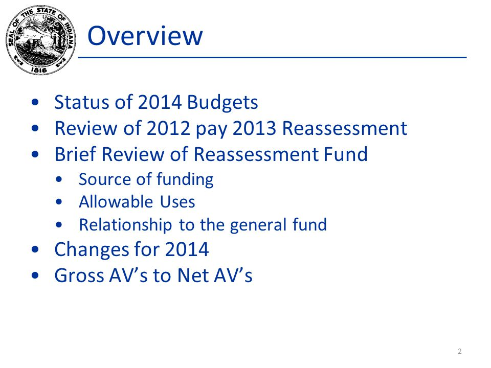 Overview Status of 2014 Budgets Review of 2012 pay 2013 Reassessment Brief Review of Reassessment Fund Source of funding Allowable Uses Relationship to the general fund Changes for 2014 Gross AVs to Net AVs 2
