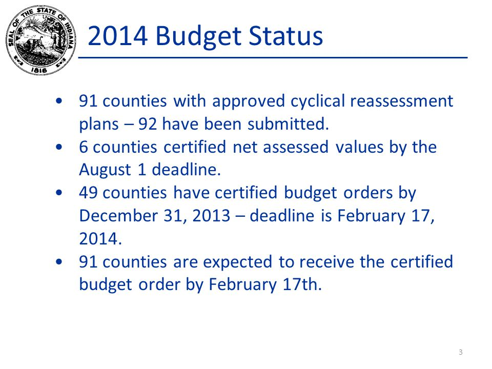 2014 Budget Status 91 counties with approved cyclical reassessment plans – 92 have been submitted. 6 counties certified net assessed values by the Aug
