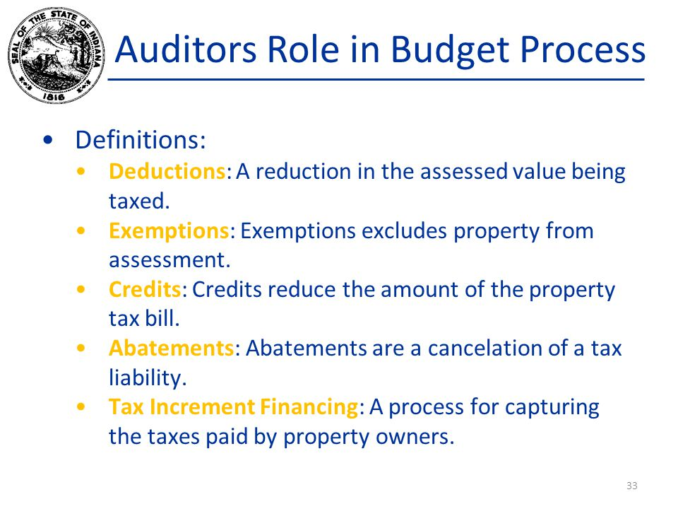 Auditors Role in Budget Process Definitions: Deductions: A reduction in the assessed value being taxed. Exemptions: Exemptions excludes property from