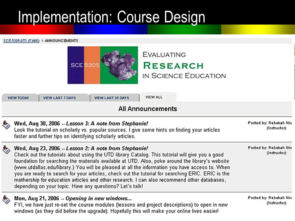 Implementation: Course Design Announcements