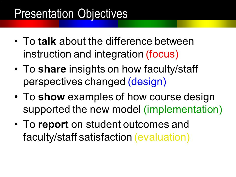 Presentation Objectives To talk about the difference between instruction and integration (focus) To share insights on how faculty/staff perspectives c
