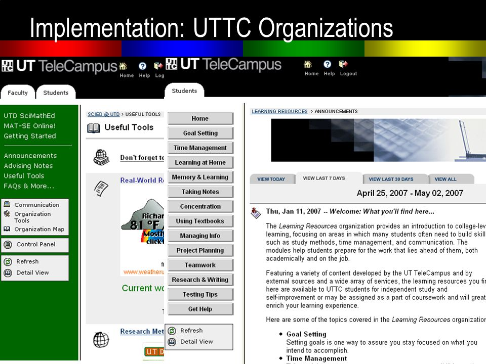 UTTC Organization Implementation: UTTC Organizations
