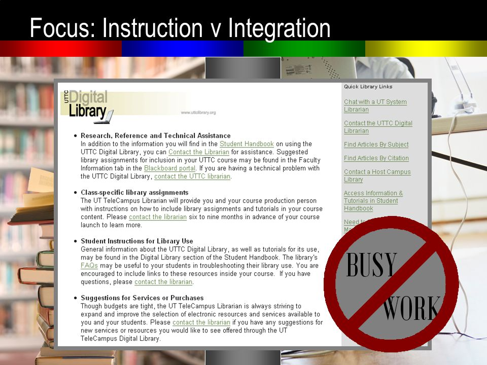 Focus: Instruction v Integration
