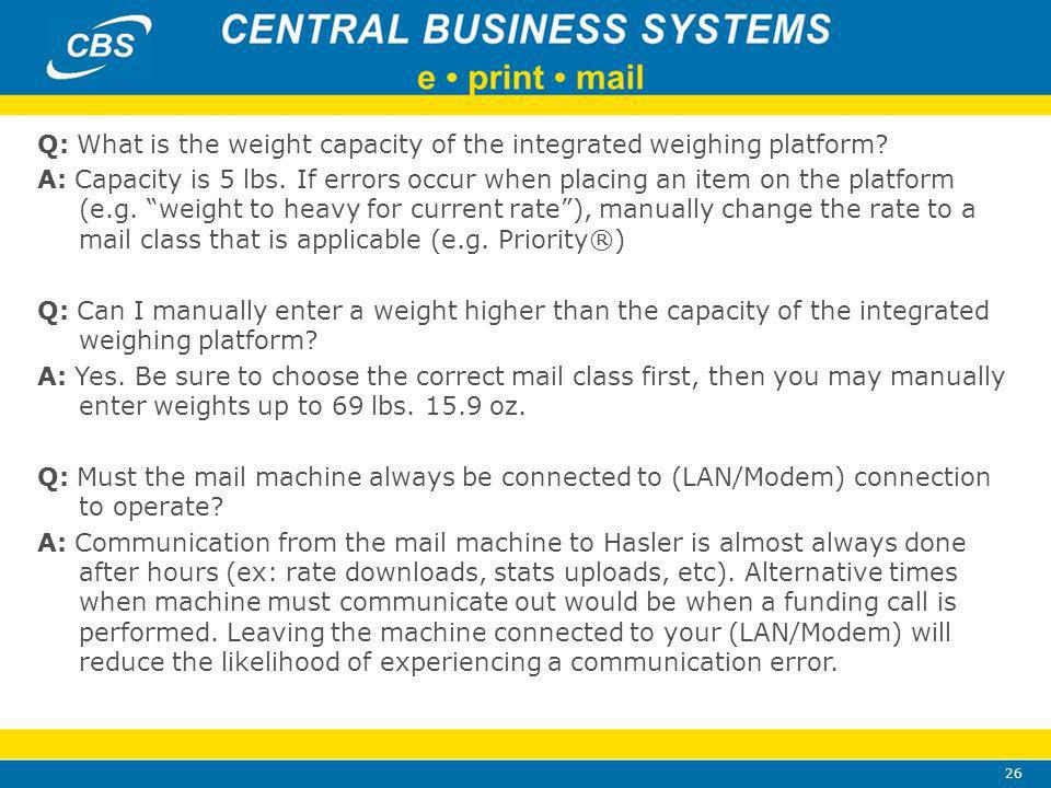 26 Q: What is the weight capacity of the integrated weighing platform.