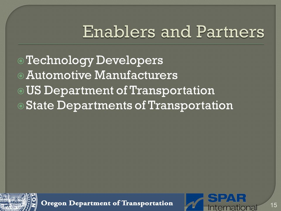 Technology Developers Automotive Manufacturers US Department of Transportation State Departments of Transportation 15