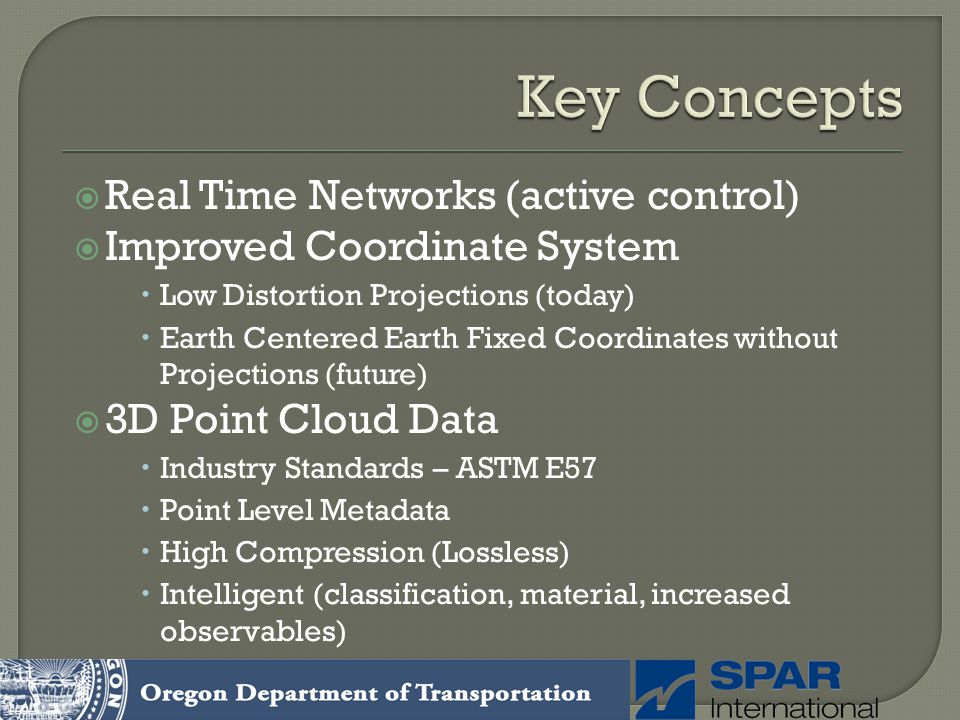 Real Time Networks (active control) Improved Coordinate System Low Distortion Projections (today) Earth Centered Earth Fixed Coordinates without Proje