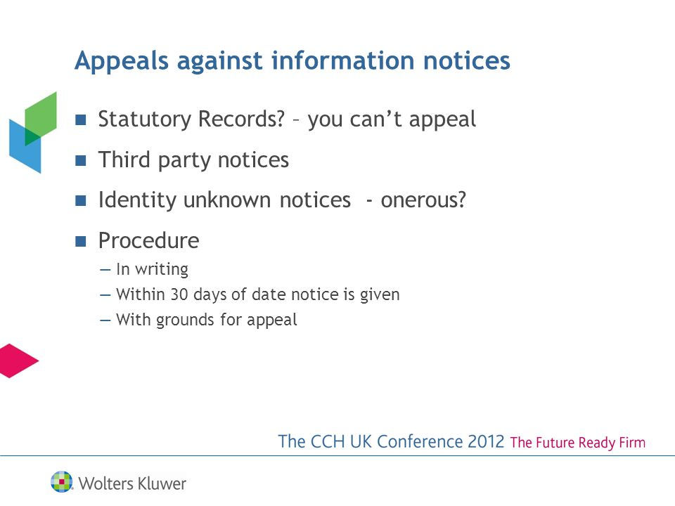 Appeals against information notices Statutory Records.