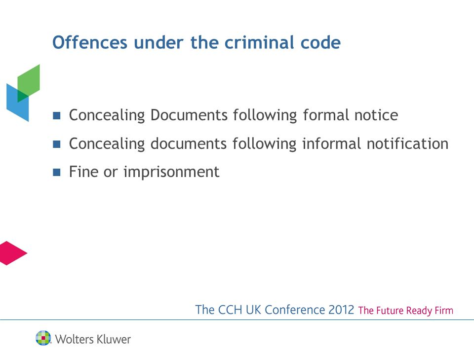 Offences under the criminal code Concealing Documents following formal notice Concealing documents following informal notification Fine or imprisonment