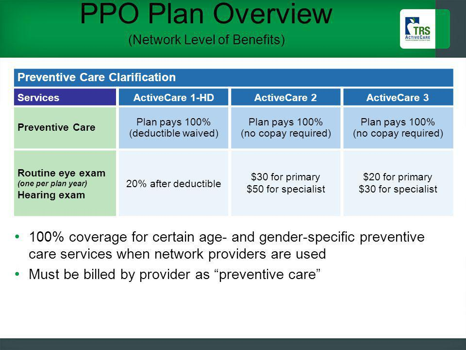 PPO Plan Overview (Network Level of Benefits) 26 Preventive Care Clarification ServicesActiveCare 1-HDActiveCare 2ActiveCare 3 Preventive Care Plan pays 100% (deductible waived) Plan pays 100% (no copay required) Routine eye exam (one per plan year) Hearing exam 20% after deductible $30 for primary $50 for specialist $20 for primary $30 for specialist 100% coverage for certain age- and gender-specific preventive care services when network providers are used Must be billed by provider as preventive care
