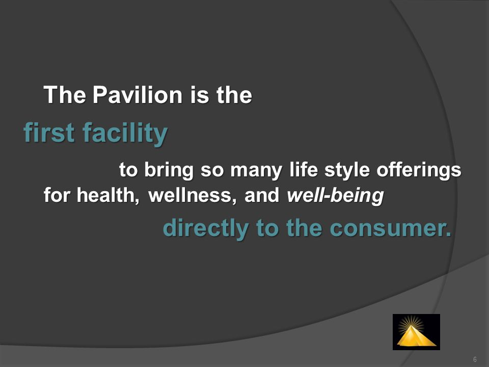 significantly larger market by offering programs and tools for living nobody else has The Pavilion programs address core relevancies in peoples lives Well-Being 75% of the market Wellness 30% of the market Fitness 8% to 15% of the market The Pavilion is able to serve a
