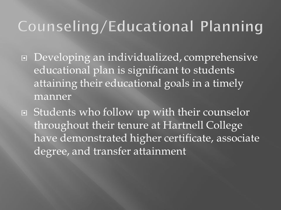 Developing an individualized, comprehensive educational plan is significant to students attaining their educational goals in a timely manner Students