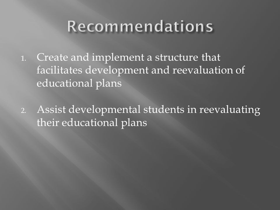 1. Create and implement a structure that facilitates development and reevaluation of educational plans 2. Assist developmental students in reevaluatin